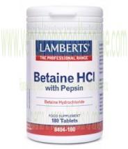 LAMBERTS Betaína HCl 324mg/Pepsina 5mg 180 TABLETAS